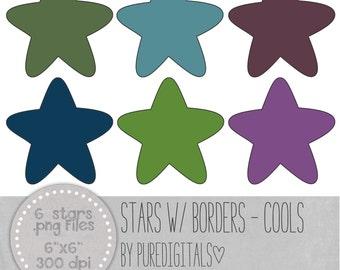 Stars Clip Art, Stars PNG, Sold Hearts, Digital Scrapbooking, Scrapbooks, Colored Stars, Digital Stars, Digital ClipArt, Digital Clip ARt