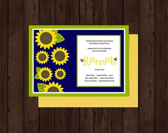 Girl's Sunflowers First Birthday Party Invitation | Custom Printable Party Invitation
