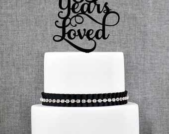 65 Years Loved Birthday Cake Topper, Elegant 65th Anniversary Cake Topper, 65th Cake Topper- (T245-65)