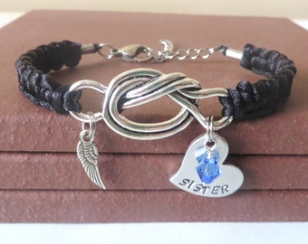 Sister Memorial Angel Wing Crystal Birthstone Hand Stamped Love Knot Bracelet You Choose Your Birthstone Charm and Cord Color(s)