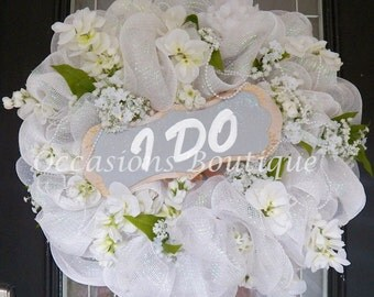 Wedding Wreath, Wedding Decoration, Bridal Shower Decoration, Engagement Party Decoration, Front door Wreaths, Wedding Gift, Made to Order