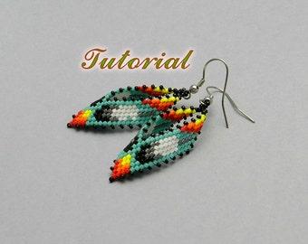 PDF Beaded Earrings Tutorial, Russian Leaf Native American Earrings Peyote Pattern, Beadwork Tutorial, Seed Bead Earrings, Beading pattern