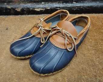 Vintage LL Bean rubber leather moc shoes duck boots hunting waterproof US 8 slip on
