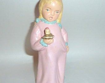 """Antique 5 1/2"""" Plaster Figurine Singing Little Girl in Nightdress with Candle"""
