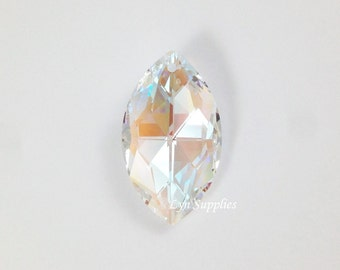8745 CRYSTAL AB Swarovski Crystal Faceted Marquise Oval Pendant 38x22mm