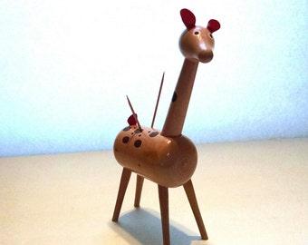 Mid Century Giraffe Toothpick Holder Retro Wood Toothpick Holder