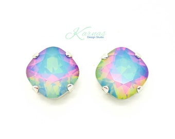 WHITE OPAL ELECTRA 12mm Cushion Cut Stud or Post Earrings Swarovski Elements *Pick Your Finish *Karnas Design Studio *Free Shipping*
