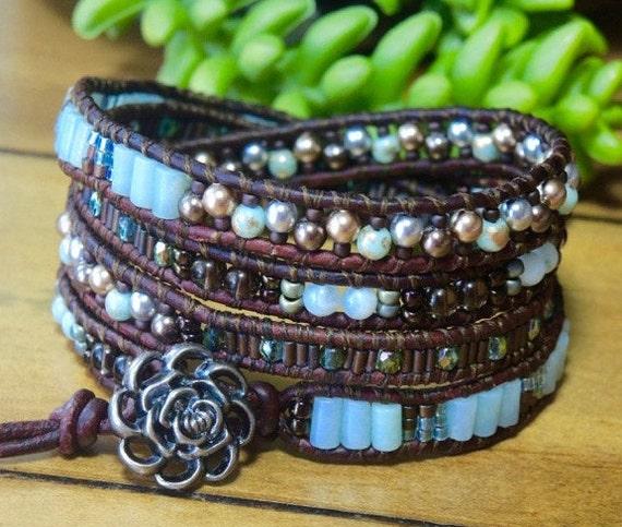 /kit***CREME De MENTHE Gemstone Leather BraceletAvailableSoon! DIY ...