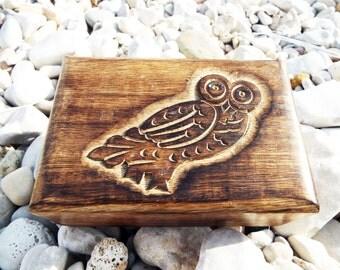 Owl Box Wooden Handmade Trinket Bird Wisdom Protection Animal Symbol Carved Jewelry Mango Tree Chest Casket Wood Eco Friendly