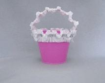 Pink Flower Girl Basket Pink Rhinestone Pearl Wedding Bucket White Satin Flower Girl Pail Pink Wedding Accessories Shabby Chic Beach Basket