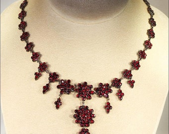 Antique Bohemian Garnet Necklace, 15.5 Inches in Wonderful Condition