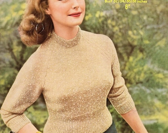 Ladys Middy Jumper Reproduced Vintage Knitting Pattern 1623, A4 PDF