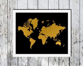Downloadable Print, World Map, Gold foil effect on black, Minimalist art, printable wall art, Wall decor
