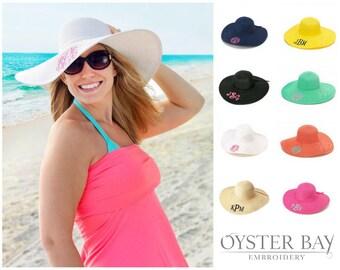 Floppy Hat, Beach Hat, Personalized Floppy Hat, Monogrammed Floppy Hat, Bachelorette Hat, Bridesmaid Gift, Derby Hat, Monogram Straw Hat