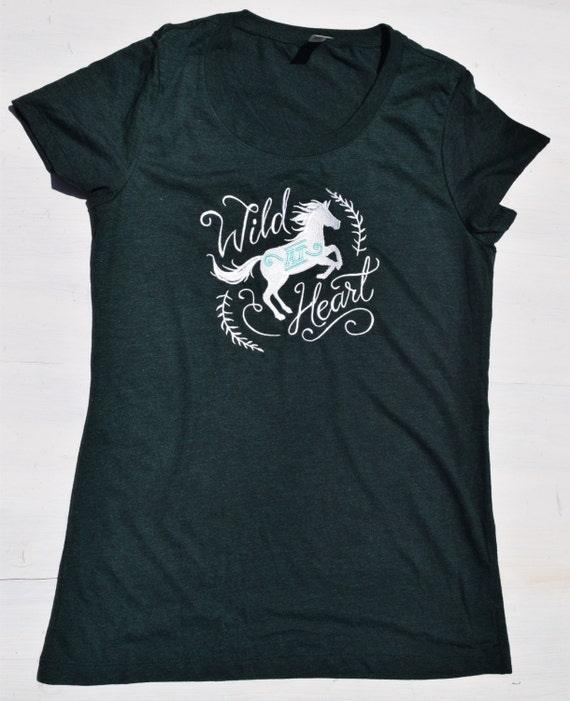 Wild at heart embroidered shirt horse by newvintageembroidery