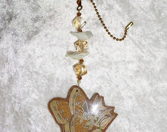 One of a kind,  Large Butterfly Ceiling Fan Pull,  Bird Focals,  Home Decor,  Housewarming Gifts, Tan and White, Home Decor