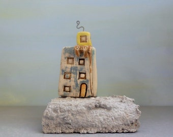 Architectural building  , Urban style , Sculpture , Ceramics , Architect gift , Concrete and clay miniature home , Hand made pottery , TLV