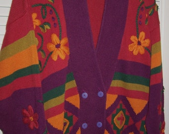 Vintage I B Diffusion AWESOME Cardigan Sweater ! Multi Vivid Splash of Color Size XXL