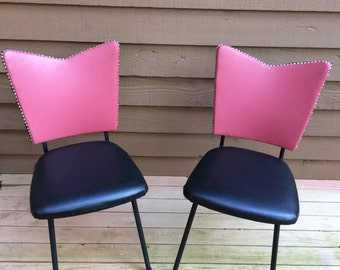 Vintage 1960s Dining Kitchen Chairs Atomic Retro Space Age by Chromcraft