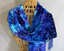 "Hand Painted Rayon/Silk Velvet Scarf ""True Blue"""