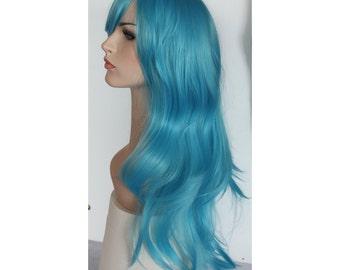 Long wavy aqua blue wig -high quality wig - ready to ship.