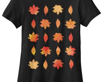 Fall Leaf Patterned Women's T-shirt