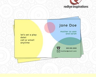 Mom Play Date Card, Mommy Calling Card, Kid Business Card