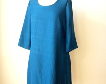VINTAGE 80s Dark TURQUOISE DRESS Womens Knee Length Everyday Business Casual Everyday 40 Steel Blue 3/4 Sleeves England