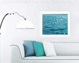 Turquoise artwork, sea ocean water ripples sparkling photograph, teal wall art, water art bokeh abstract light, coastal print nautical decor