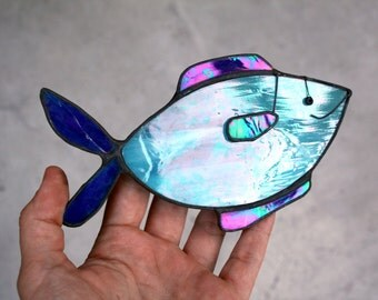 BLUE FISH - Iridescent Stained Glass - Animal Decoration - Cute Gift - Window, Wall Hanging Ornament