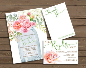 Mason Jar with Roses Wedding Invitation          FREE SHIPPING!!!!