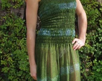 Dresses Tie Dyed Dress Bohemian Dress Boho Dress Vintage Dress Sari Silk Dress Indian Dress Green Dress Fairy Clothing Hippie Dress