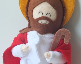 Jesus the Good Shepherd Felt Saint Doll Catholic Religious Doll