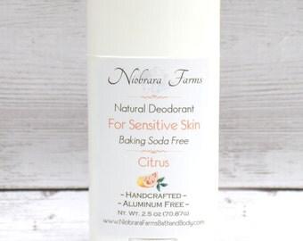 Baking Soda Free Natural Deodorant - Natural Citrus Deodorant Stick - Aluminum Free Deodorant - Handmade Deoderant - 2.5 oz. Stick Deodorant