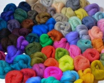 Merino Wool Color Sampler 23 oz, 71 colors! Wool Roving, Spinning Fiber, Assortment