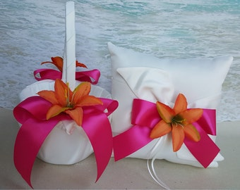 Tropical Basket and/or Pillow Set -White or Ivory Satin- Choice of Ribbon Colors- Hawaii Lily Beach Hawaiian Flower Girl Ring Bearer Wedding