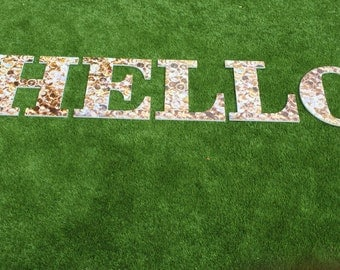 Large Hello letters/sign in diamond print