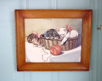 Kitten Lithograph Print Ball of Yarn
