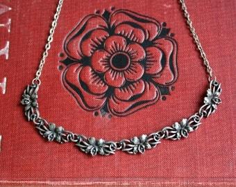 Art Nouveau Necklace Pewter Iris Floral Jewlery