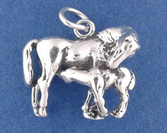MARE and Foal Charm .925 Sterling Silver Baby Horse, Colt Pendant - lp1836
