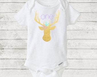 One Year Deer Head Antlers Onesie/Bodysuit. CUSTOM/Any color. 12 month/one year baby birthday gift. First Birthday Onesie. Woodland Birthday