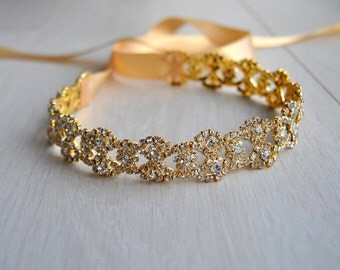 "18-44"" Gold Dress Sash Belt, Wedding dress Bridal Sash, Rhinestone Bridal Bridesmaid Sash Belt, All around Wedding dress sash"