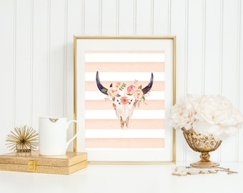 Watercolor Bull Skull, Printable Art Print, Animal Skull Printable, 4x6, 8x10, 5x7, 11x14, Peach, Pink, Coral, Floral Print Botanical Nature