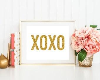 XOXO Printable Art Print, 5x7 and 8x10, Gold Glitter Love Printable, Valentine's Day Printable, Wedding Decor, Gold and White, Paper Canoe