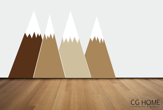 nougat brown Headboard Nursery MOUNTAIN view Snow mountain for kids big wall washable decal CGhome