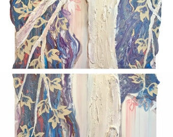 Large Diptych Tree Painting in Turquoise, Coral, Purple, Brown, Cream and Metallic Bronze and Pearl - Original Acrylic Plaster Art on Board