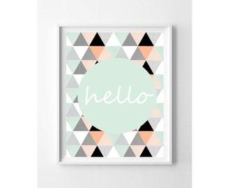 Nursery Wall Art Print // Nursery Decor // Hello // Peach Coral Mint Triangles