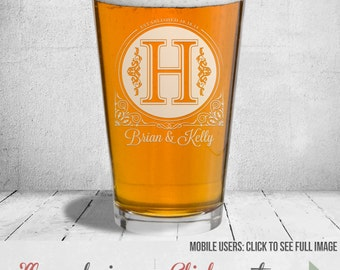 Etched Beer Glass: Laser Etched With Any Design We Offer Or Design One Of Your Own