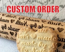ENGRAVED ROLLING PIN - Embossed 3D effect - Free Personalization - Includes cookie shortbread recipe
