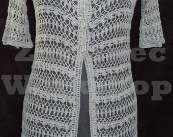 Cardigan crochet woman casual light gray solid linen short sleeve handmade size S/M